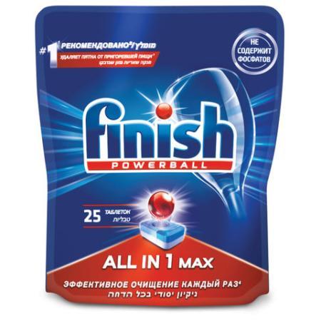 Таблетки для мытья посуды в посудомоечных машинах 25 шт. FINISH (Финиш) All in 1, 3025693 цена 2017