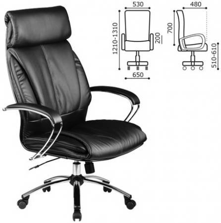 Кресло офисное МЕТТА LK-13CH, кожа, хром, черное