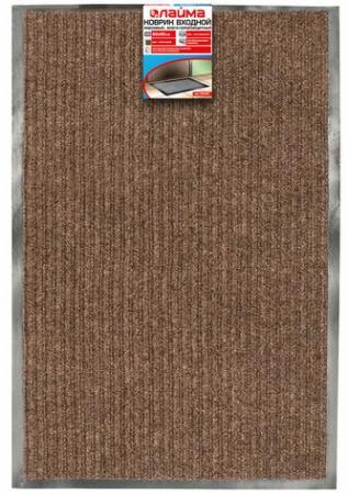 Коврик входной ворсовый влаго-грязезащитный ЛАЙМА/ЛЮБАША, 60х90 см, ребристый, толщина 7 мм, коричневый, 602868