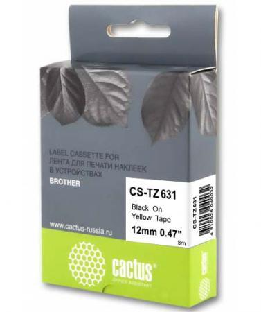 Фото - Картридж ленточный Cactus CS-TZ631 черный для Brother 1010/1260VP/1830VP/9700PC лента cactus cs tz241 для принтеров brother p touch 1010 1280 1280vp 2700vp черный на белом 18ммх8м