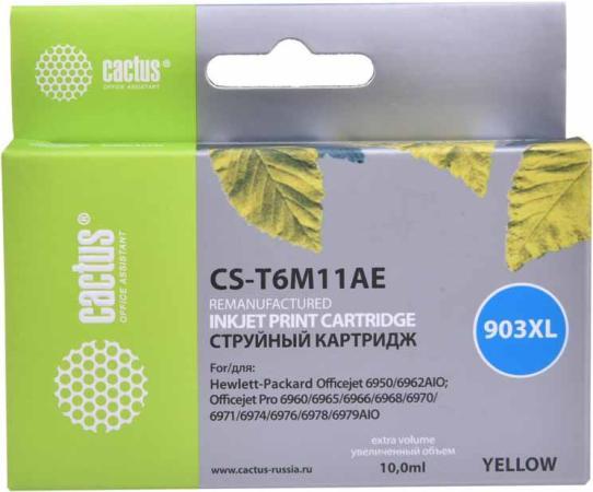 Фото - Картридж струйный Cactus №903XL CS-T6M11AE желтый (10мл) для HP OJP 6950/6960/6970 картридж струйный cactus cs f6t83ae 973xl желтый 115мл для hp pagewide 352dw mfp377dw 377dn