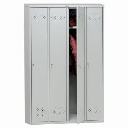 """Шкаф металлический для одежды ПРАКТИК """"LS-41"""", четырехсекционный, 1830х1130х500 мм, 55 кг, разборный, LS(LE)–41"""