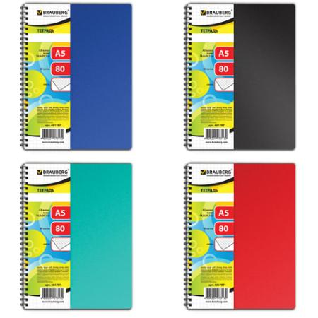 Тетрадь А5, 80 л., BRAUBERG, гребень, клетка, обложка пластик, OFFICE (4 вида), 401797