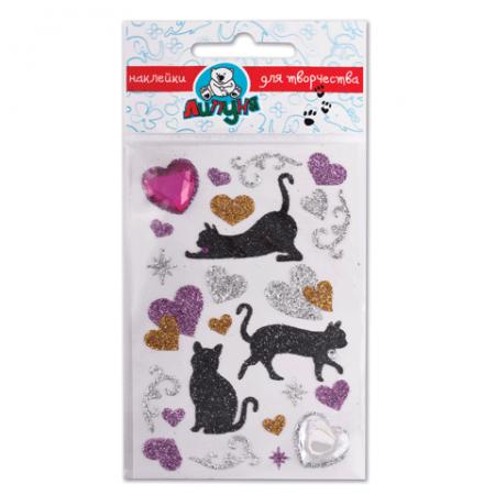Купить Наклейки ЛИПУНЯ Блестящие кошки с сердцами , с европодвесом, JGS001, Детские наклейки и тату