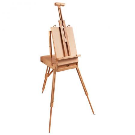 Купить Этюдник BRAUBERG ART CLASSIC, бук, 50х34х11 см, высота холста 87 см, ножки деревянные 90 см, ремень, 190654, Краски