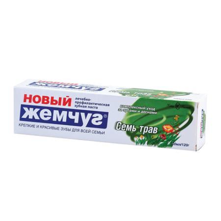 """все цены на Зубная паста 100 мл, НОВЫЙ ЖЕМЧУГ """"Семь трав"""", комплексная защита десен, 17127 онлайн"""