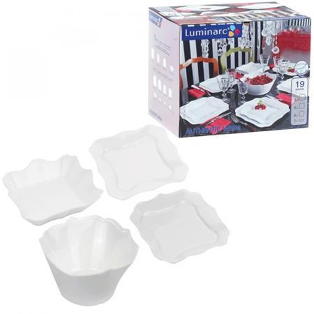 Набор посуды столовый, 19 предметов, белое стекло, Authentic White, LUMINARC, E6197