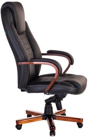 купить Кресло руководителя Бюрократ T-9923MAHOGANY/BLACK черный кожа крестовина дерево по цене 15790 рублей