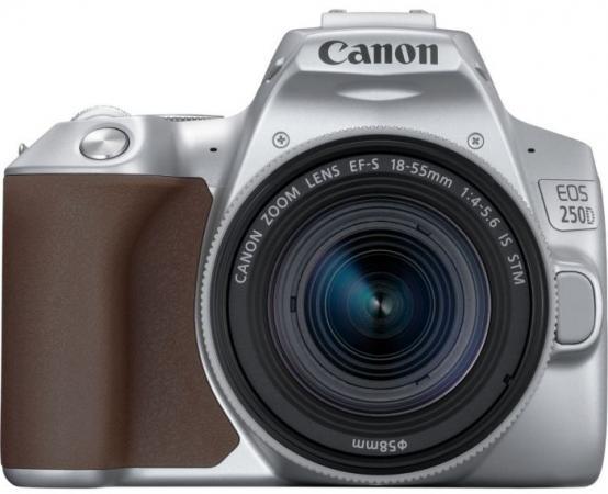 "Зеркальный Фотоаппарат Canon EOS 250D серебристый 24.1Mpix EF-S 18-55mm f/1:4-5.6 IS STM 3"" 4K Full HD SDXC Li-ion цена"