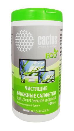 Салфетки Cactus CS-1001PE для экранов и оптики туба 100шт влажных цена