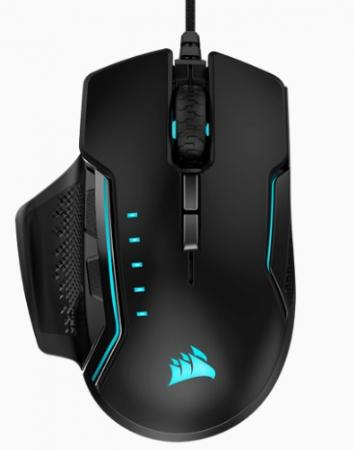Игровая мышь Corsair Gaming™ GLAIVE RGB PRO, Comfort FPS/MOBA Gaming Mouse with Interchangeable Grips, Black, Backlit RGB LED, 18000 DPI, Optical (EU version)
