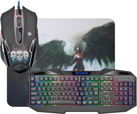 Клавиатура проводная Defender MKP-018 RU USB черный 52018 мышь+ковер