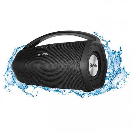 АС SVEN PS-320, черный, акустическая система 2.0, мощность 2x7.5 Вт (RMS), Waterproof (IPx7), Bluetooth, встроенный аккумулятор