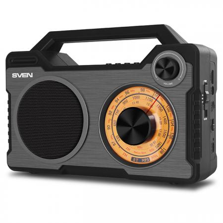 АС SVEN SRP-755, черный, радиоприемник, мощность 8 Вт (RMS), Bluetooth, FM/AM/SW, USB, microSD, встроенный аккумулятор
