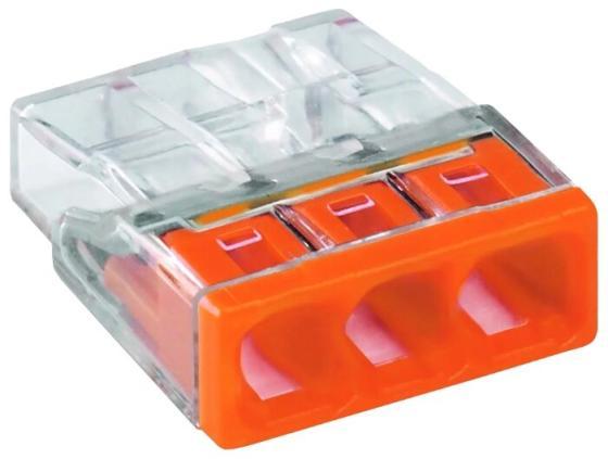 Wago 2273-203 Клемма 3-проводная (0,5-2,5 кв.мм) оранжевая