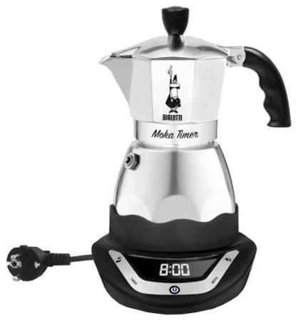 Кофеварка Bialetti Moka Easy Timer 6 серебристый/черный цена и фото