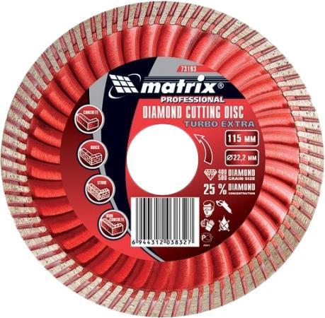 Фото - Диск алмазный отрезной Turbo Extra, 115 х 22,2 мм, сухая резка// Matrix диск алмазный отрезной turbo 115 х 22 2 мм сухая резка сибртех