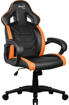 """Кресло для геймера Aerocool AC60C AIR-BO , черно-оранжевое, до 100кг, ШxГxВ : 65x74x113/120 см, газлифт 80 мм, механизм """"бабочка"""""""