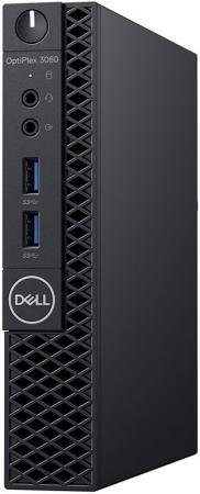 ПК Dell Optiplex 3060 Micro i3 8100T (3.1)/8Gb/SSD128Gb/UHDG 630/Windows 10 Professional/GbitEth/WiFi/BT/65W/клавиатура/мышь/черный