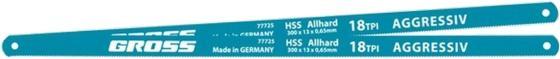 Полотна для ножовки по металлу, 300 мм, 18TPI, HSS, 2 шт.// Gross полотна для ножовки по металлу 300 мм шаг 1 мм 2 шт сибртех