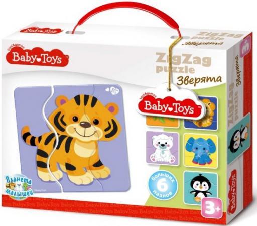 Пазлы макси ЗИГЗАГ Зверята BABY TOYS (18 эл) 0,235х0,18х0,048 baby toys макси пазлы baby toys зигзаг домашние животные 18 элементов