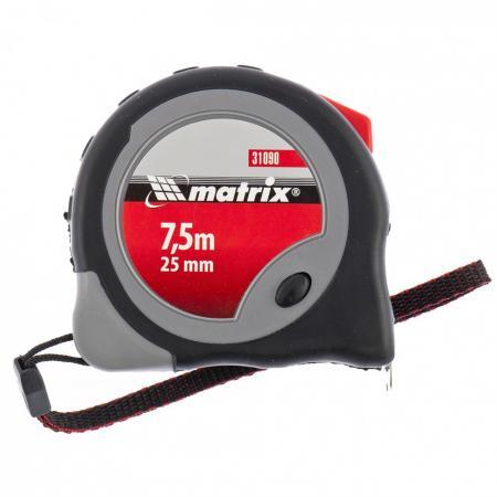Рулетка Continuous fixation, 7,5 м х 25 мм, двухкомпонентный корпус, плавная фиксация// Matrix