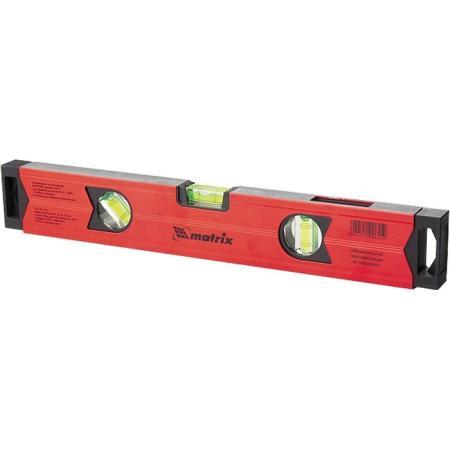 Уровень алюминиевый магнитный, 600 мм, фрезерованный, 3 глазка (1 зеркальный), усиленный// Matrix уровень магнитный harden 580528 3 глазка 12 м
