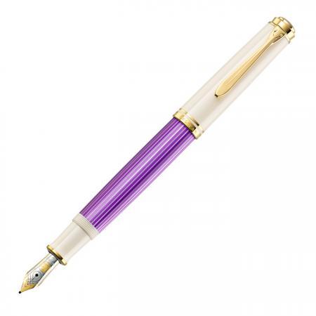 Ручка перьевая Pelikan Souveraen M600 (PL811880) фиолетовый/белый F перо золото 14K покрытое родием подар.кор.экскл.