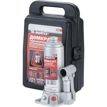 цена на Домкрат гидравлический бутылочный, 3 т, h подъема 194–372 мм, в пласт. кейсе// Matrix