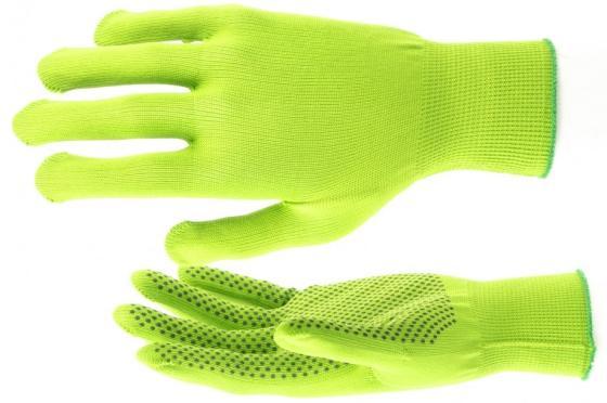 Перчатки нейлон, ПВХ точка, 13 класс, цвет изумрудный, L// Россия