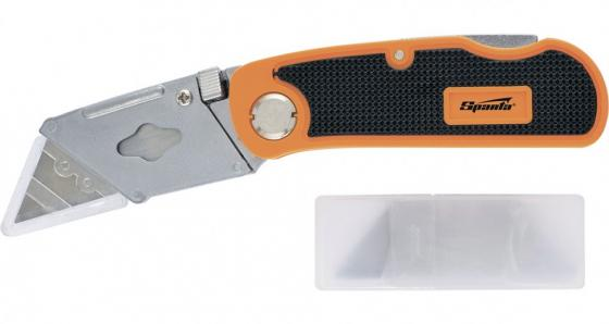 Нож, 18 мм, складной, пластиковая двухкомп рукоятка ,сменное трапециевидное лезвие,+5 лезв.// Sparta smartbuy ножскладной200мм edc лезвие