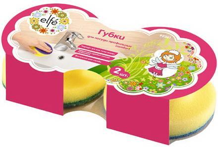 Губки для посуды c тефлоновым покрытием, круглые, d 95*50 мм, 2 шт. в картоне, Россия// Elfe щетка для посуды круглая d 46 мм 225мм сиреневая elfe