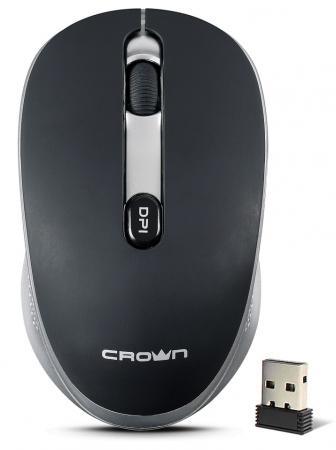 Мышь беспроводная Crown CMM-11W black/silver чёрный серебристый USB недорого