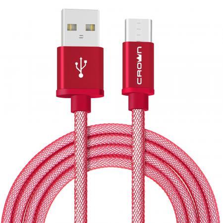Кабель Crown USB - USB Type-C CMCU-3072C red; круглый; в прочной нейлоновой оплётке; коннекторы Метал; ток 2А; 100 см; цвет красный цена и фото