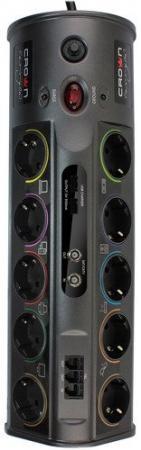 Сетевой фильтр CROWN CMPS-10, 3680W, розетки 10 х EURO, порты: RJ-11 3, coacial 2, USB автомат 16А, защита: от перегрузки, КЗ, скачков напряжения, шнур EURO - вилка 1,5 кв. мм, длина 1,8 м, корпус ABS-пластик, цвет тёмно-серебристый