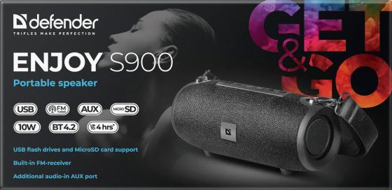 Колонки DEFENDER ENJOY S900 1.0 bluetooth черный,10Вт, BT/FM/TF/USB/AUX