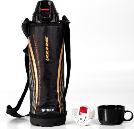 цена на Термос спортивный Tiger MBO-E100 Black, 1 л (нержавеющая сталь, цвет крышки черный, цвет термоса стальной)