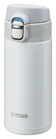 Термокружка Tiger MMJ-A036 Snow White 0,36 л (цвет снежно-белый, откидная крышка на кнопке, нержавеющая сталь)