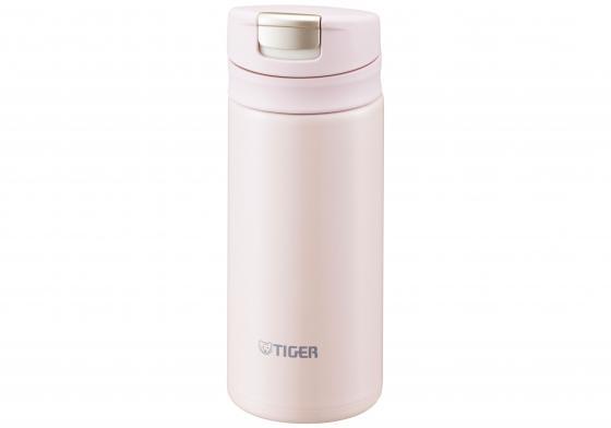 купить Термокружка Tiger MMX-A020 Powder Pink 0,2 л (цвет пудрово-розовый, откидная крышка на кнопке, нержавеющая сталь) по цене 1750 рублей