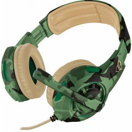 лучшая цена Гарнитура TRUST GXT 310C RADIUS green camo (настраиваемый микрофон,мощный звук,Кабель 1 м)