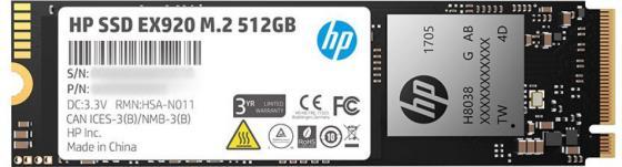 Купить Твердотельный накопитель SSD M.2 512 Gb HP EX920 Read 3200Mb/s Write 1600Mb/s 3D NAND TLC 2YY46AA