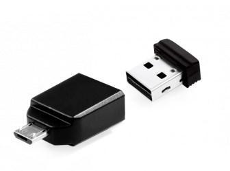 Флеш накопитель 64GB Verbatim Nano OTG, USB 2.0 (Micro-USB adapter) micro usb male to usb 3 0 female otg converter adapter