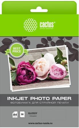 цена на Фотобумага Cactus CS-GA415050ED A4/150г/м2/50л./белый глянцевое для струйной печати