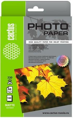Фото - Фотобумага Cactus CS-MA6230100 10x15/230г/м2/100л./белый матовое для струйной печати фотобумага
