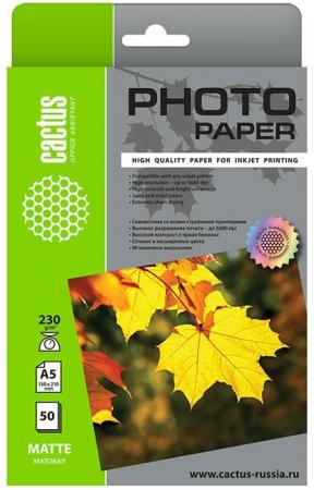 Фото - Фотобумага Cactus CS-MA523050 A5/230г/м2/50л./белый матовое для струйной печати фотобумага