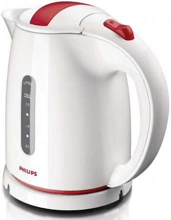 Чайник Philips HD4646/40 2400 Вт белый красный 1.5 л пластик чайник электрический philips hd4646 70