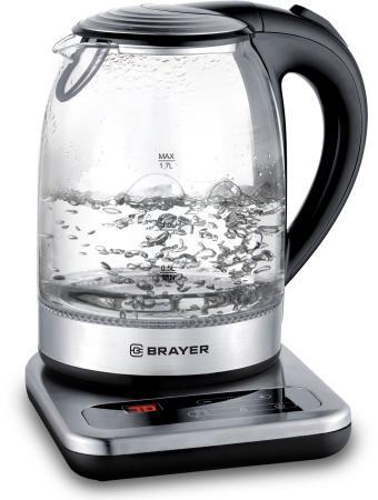 1003BR Электрический чайник BRAYER, 1,7 л, стекл., подставка, 40-100 °С, Под. t, подсветка, черн.