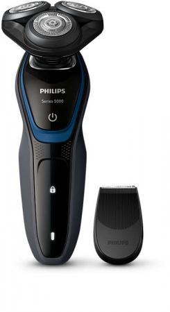 Бритва роторная Philips Series 5000 S5100/06 реж.эл.:3 питан.:элек.сеть/аккум. черный/синий бритва philips s5310 06