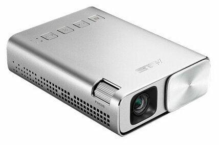 ASUS ZenBeam E1 Проектор {DLP, LED, WVGA 854x480, 150Lm, 800:1, HDMI, MHL, 1x2W speaker, led 30000hrs, battery, Silver, 0.31kg}