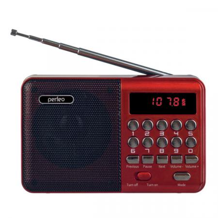 Купить Perfeo радиоприемник цифровой PALM FM+ 87.5-108МГц/ MP3/ питание USB или 18650/ красный (i90-BL)